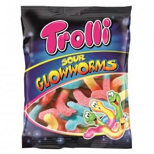 TROLLI želejkonfektes skābie Glowworms, 100g