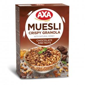 AXA Musli Kraukšķīgie ar medu, šokolādi un riekstiem, 375g