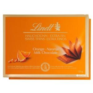 LINDT Swiss Thins Piena šokolāde ar apelsīnu, 125g