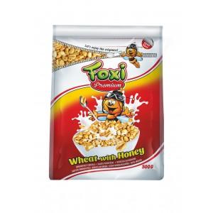 FOXI PREMIUM sausās brokastis-uzpūsti kviešu graudi ar medu, 500g