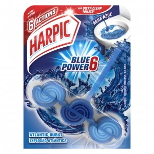 HARPIC Blue Power 6 tualetes poda bloks ar Atlantijas svaiguma aromātu