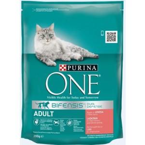 ONE kaķu sausā barība (lasis, rīsi) 200g