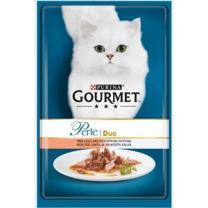GOURMET PERLE kaķu konservs DUO lasis/baltā zivs 85g