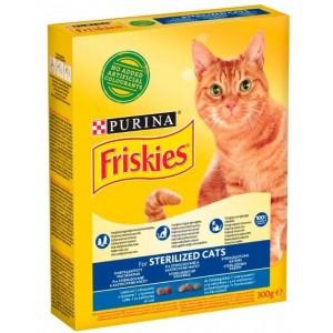 FRISKIES kaķu sausā barība Sterile Lasis, dārzeņi 300g