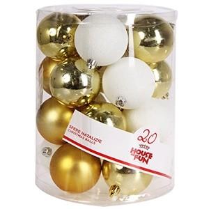 Eglīšu bumbas d8cm 20gab baltas/zelta