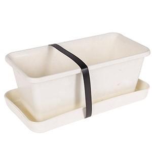 Puķu kaste ar paliktni 20cm balta