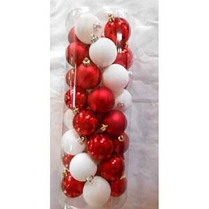 Eglīšu bumbas d5cm 40gab baltas/sarkanas (plastmasas)