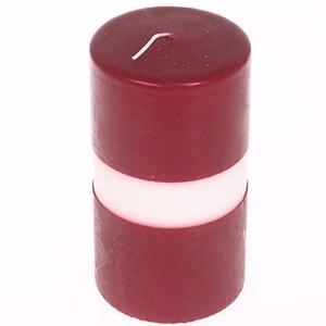 Svece-cilindrs 5x10cm sarkanbaltsark.
