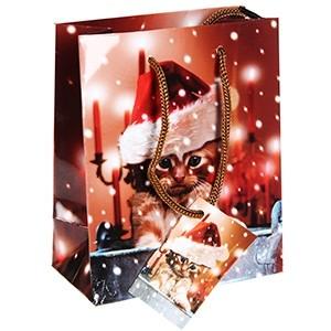Dāvanu maisiņš Kaķis ar cepuri 11x6x13.5cm