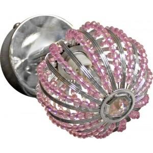Spotlampa 1xG9 40W, hromēta ar rozā kristāliņiem