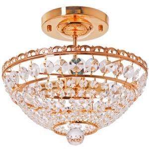 Griestu lampa-3x40W E14 zelta/kristāla