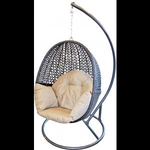 Šūpuļkrēsls ar spilvenu, ratanga 110x85x72cm