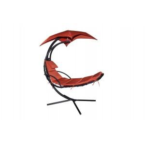 Krēsls ar saulessargu sarkans