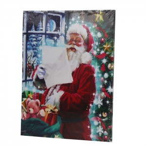 Glezna ar LED 30x40cm Ziemassvētku Vecītis